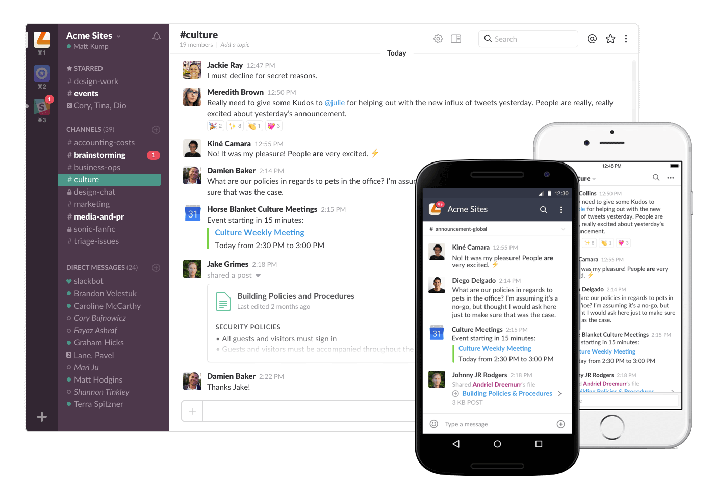 Slack Tool on different devices