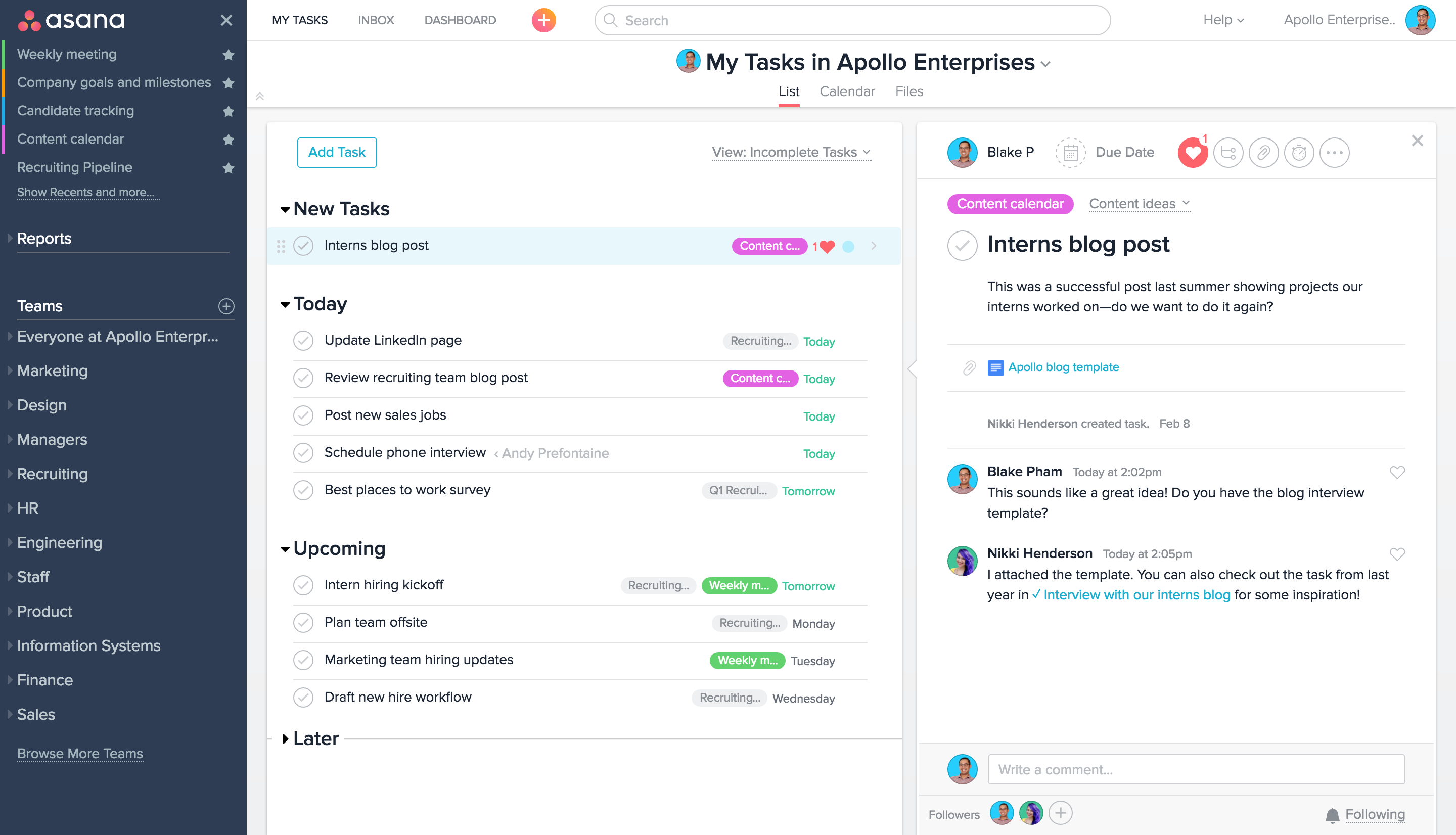asana for business intelligence software reporting