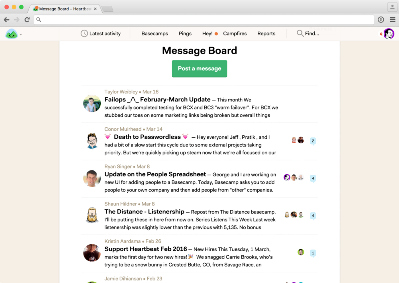 basecamp message board