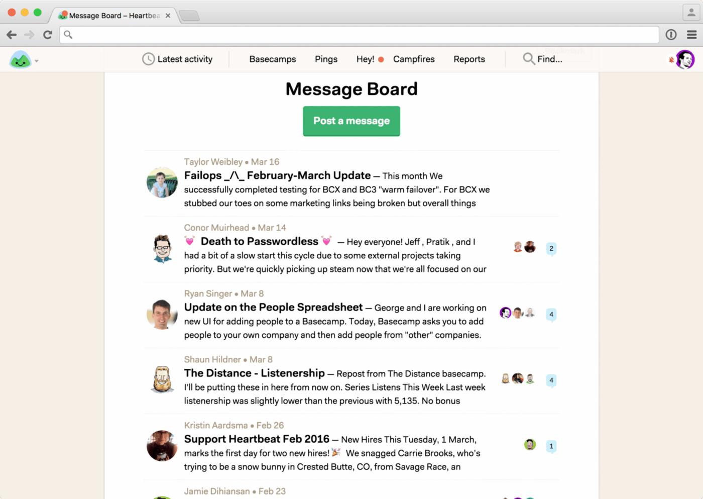 basecamp message board