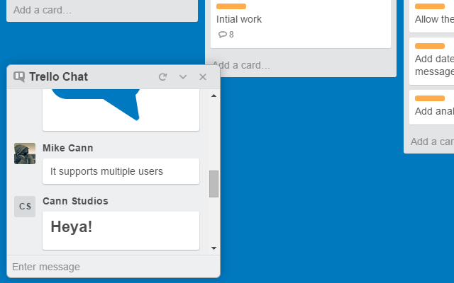 trello chat is in-built